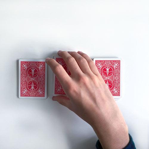 3 Stapel von Karten